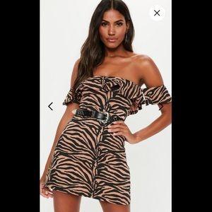 Rust Zebra Print Bardot Frill Skater Dress